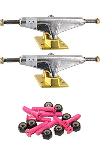 Venture Trucks Vチタン光沢/ゴールドスケートボードトラック 1インチの取付金具付き   B07NWHYCPV