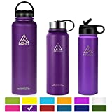 HIWILL Stainless Steel Insulated Water Bottle 2 Lids, Cold 24 Hours Hot 12 Hours, Double Wall Vacuum Thermos Flask, Travel Sports Leak Proof Metal Bottle with Straw, BPA Free (Lilac, 37 oz)