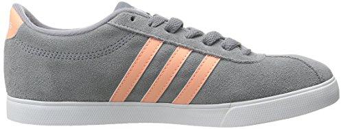 Adidas Neo Womens Courtset W Fashion Sneaker Grigio / Sole Bagliore Giallo / Bianco