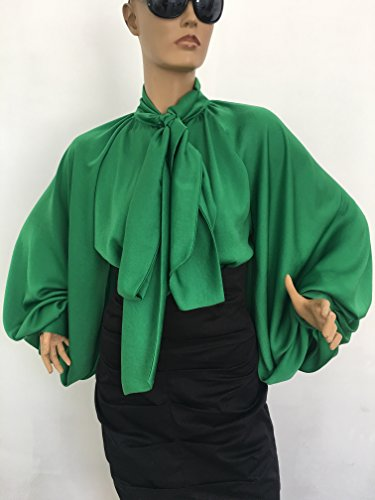 2246a6bf20eda Formal Womens green silk blouse emerald cocktail fur silk blouse Bow Blouse
