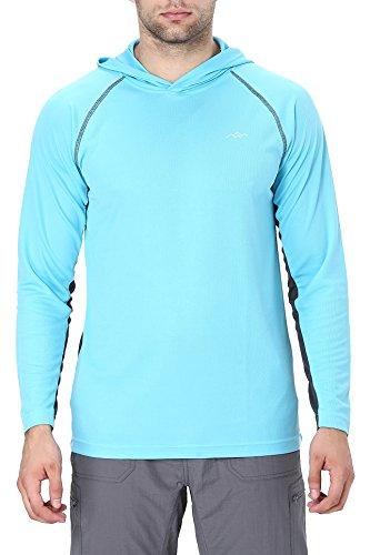 Trailside Supply Co. Men's Long Sleeve Running Hoodie Shirt Hooded Tee Small Slate Blue + (Big Supply Shop)