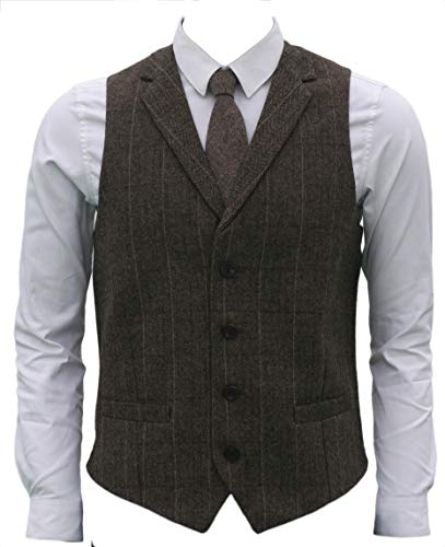 4Buttons Wool Herringbone Plaid Tailored Collar Suit Vest (S, Hunter Green) ()