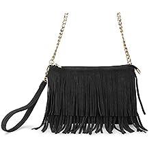 Hoxis Fringe Cross Body Bag Womens Small Shoulder Bag Top Zip Wristlet