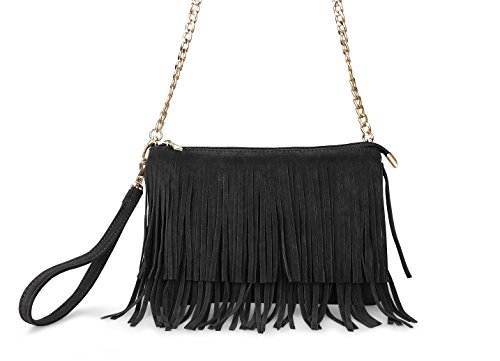 Hoxis Fringe Cross Body Bag Womens Small Shoulder Bag Top Zip Wristlet Black