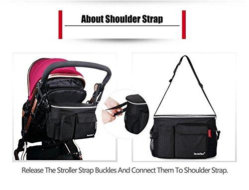 3-in-1organizador para carrito de/para sillita de bebé bolsa de pañales bolso cambiador momia bolso cambiador/bolsa de aislamiento calentador, Universal fit-6bolsillos azul azul verde