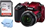 Nikon COOLPIX B500 16MP Digital Camera with 3 Inch TFT LCD Screen Nikkor Lens with 40x Optical Zoom WiFi + 64GB Memory Card (Red)