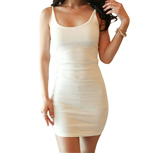 Womens Camisole Vest Bodycon Long Tank Top Spaghetti Ribbed Mini Dress (XL, White)