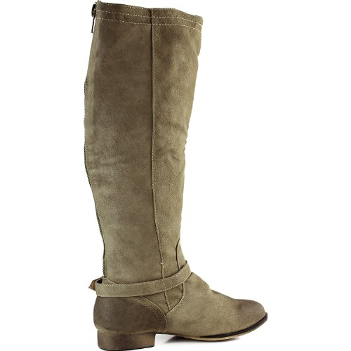 Boots Women's Strappy 5 Buckle Knee 8 Faux Pu Taupe High Dakkeni Leather 3 qrOwrXgY