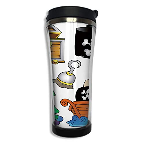 Stainless Steel Insulated Coffee Travel Mug,Spill Proof Flip Lid Insulated Coffee cup Keeps Hot or Cold 8.45 OZ(250 ml)Customizable printing byPirate,Pirate Themed Collection Treasure Chest Jolly Roge