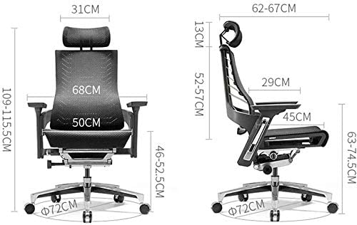 HEMFV Chaise de Jeu d'ordinateur, Chaise Ergonomique Ordinateur Président Accueil Mesh Président Reclining Chaise de Bureau Patron président Seat