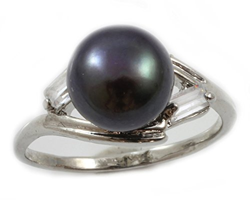 (Orien Jewelry Black AA 9mm Freshwater Cultured Pearl & Cubic Zirconia Ring Size 6-8 Cultured Pearl Rings for Women)