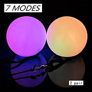 Hangang LED POI Balls (Pair) Light up 7 Different Settings Batteries Included. Suitable for Children Playing with Family ,Multi Color Glow Rave Toy