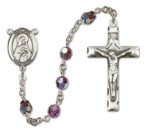 All Sterling Silver Rosary with Amethyst, 6mm Swarovski, Austrian Tin Cut Aurora Borealis Beads. St. Rita of Cascia Center. St. Rita of Cascia is the Patron Saint of Loneliness/Impossible Dreams.