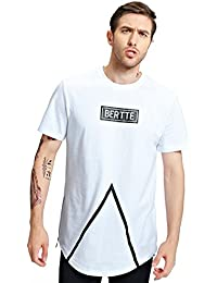 Bertte Mens Hipster Hip Hop Longline Curved Hem Short Sleeve Hoodie Zipper T-shirt