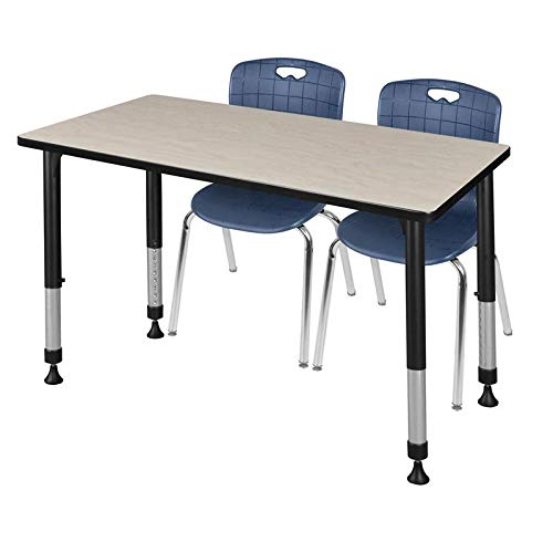 Regency MT4830PLAPBK40NV Kee Height Adjustable Classroom Table Set with Two 18'' Andy Chairs, 48'' x 30'', Maple/Navy by Regency