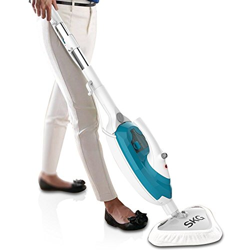 SKG 1500W Powerful Non-Chemical 212F Hot Steam Mops & Carpet and Floor Cleaning Machines (6-in-1 Accessories & 3 Microfiber Pads Included) - Steam Cleaners Machine - Cleaning Floor