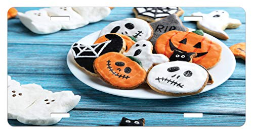 Lunarable Halloween License Plate, Funny Fresh Halloween Gingerbread Cookies and Holiday Desserts on Wooden Table, High Gloss Aluminum Novelty Plate, 5.88 L X 11.88 W Inches, Multicolor -