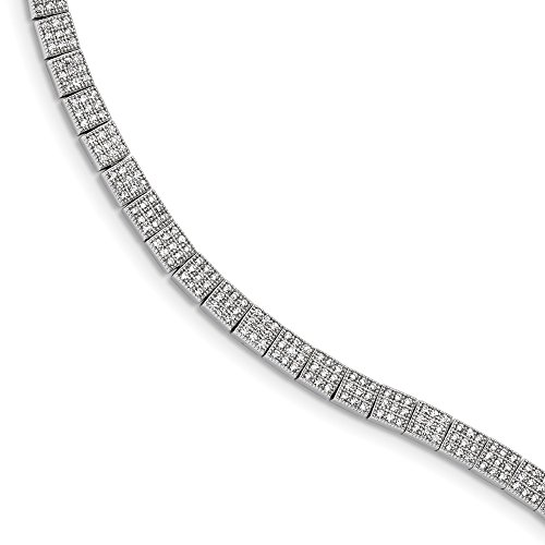 Sterling Silver CZ Brilliant Embers Polished Bracelet Solid 4 mm 7.25 in 7.25 mm CZ Bracelets Bracelets Jewelry