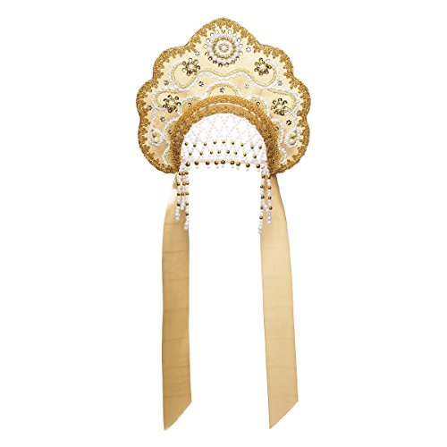 danila-souvenirs Russian Traditional Folk Costume Headdress Kokoshnik Larisa Gold Color #872 -