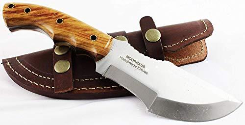 Cheap Moorhaus Handmade D2 Tool Steel Tracker Knife with Leather Sheath (Olive Wood)
