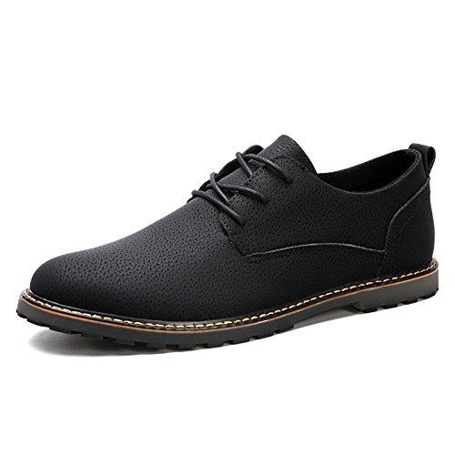 zmlsc Casual Hommes Chaussures en Cuir D'affaires Ronde Souple Point Point Ruban Saison Couleur Toile Sport Sandales Bottes Black h4gfM4MZc
