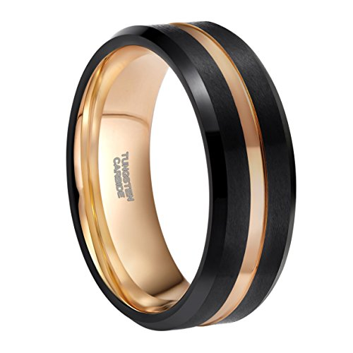 - 8mm Tungsten Carbide Ring for Men Black Matte Finish Rose Gold Thin Groove Comfort Fit (Black & Rose Gold, 10)