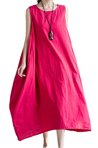 Mujeres Sin Mangas Vestido Maxi Casual Loose Asymmetric Red