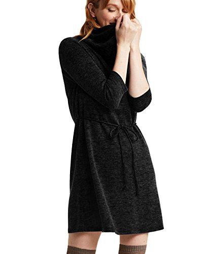 3/4 sleeve black sweater dress - 3