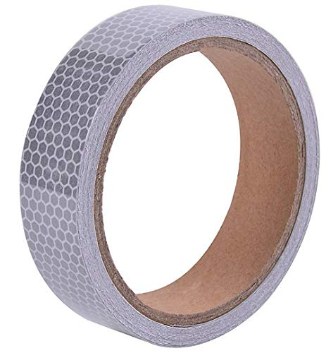 (1in x 5yds High-Intensity Reflective Tape for Vehicles Bikes Clothes Helmets Mailboxes,Silver & White)