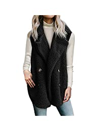 WOCACHI Womens Sleeveless Vest Coat Jackets Waistcoats Outerwear with Pockets