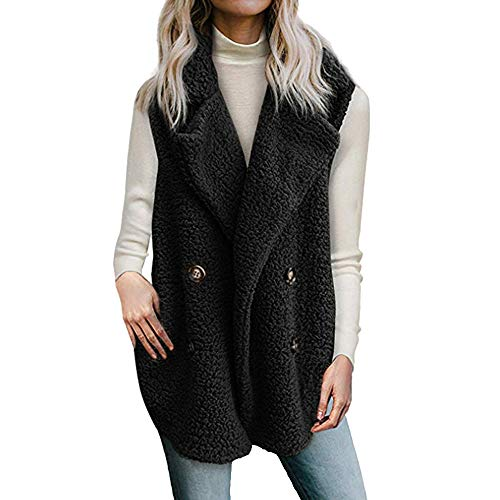 Overcoat Size Parka Down Warm Tops Outercoat Women Button Pocket Jacket Black1 Outwear Ladies Winter Over Solid Casual Turn Collar Coat Rovinci Plush UXqpwS