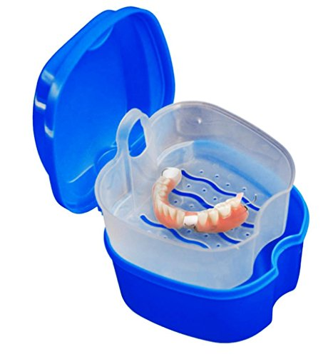 Costume Retainer Headgear (Nesee Denture Bath Box Case Dental False Teeth Storage Box with Hanging Net Container (Dark)