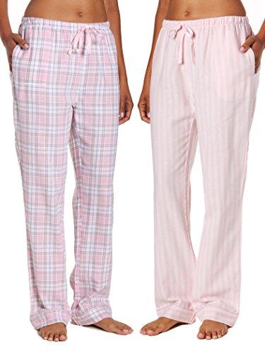 Bottom Pajama Pants (2-Pack Women's Cotton Lightweight Flannel Lounge Pants - Plaid-Stripes Pink - M)