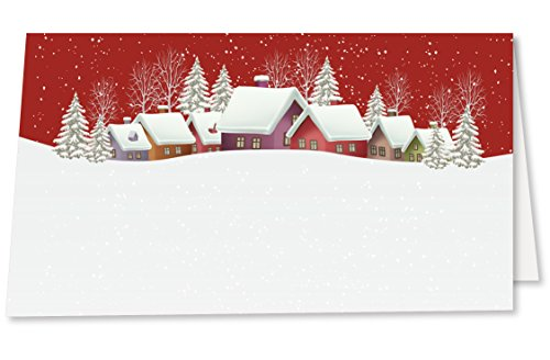 Christmas Place Cards with Vintage Snowy Christmas Village and Pine Trees. Pack of 50 Tent Style Cards for Holiday Dinner, Brunch, Party, or Any Occasion. No Holder Necessary. (Place Tree Card Christmas Holder)