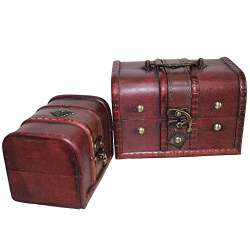 Sealive Red Retro Old Stye Unique Lock Wooden Jewelry Box Case Trinket Box Multipurpose Keepsake Storage Boxes Lock Box,1 Set of 2