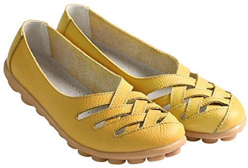 Fangsto Womens Cowhide Flats Sandals On Leather Yellow Loafers Slip BFBwSxqrp