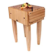John Boos Pca2 24 by 18 by 10-Inch Maple Butcher Block with Knife Holder, Barn Red Legs