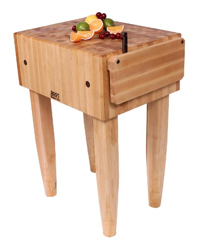 John Boos Block PCA2-C Maple Wood End Grain Solid Butcher Block Table with Side Knife Slot, 24 Inches x 18 Inches x 10 Inch Top, 34 Inches Tall, Natural Maple Legs with Casters