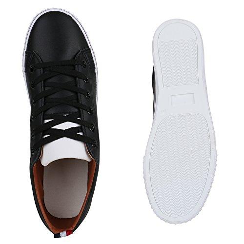 Stiefelparadies Sportliche Herren Sneakers Low Basic Turnschuhe Freizeit Flandell Schwarz Glatt