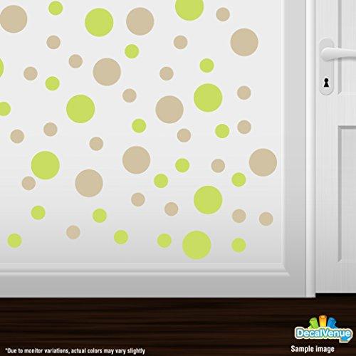 Set of 30 Circles Polka Dots Vinyl Wall Decals (Chartreuse/Beige)