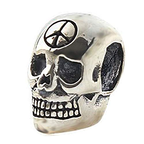 Antique Skeleton Skull Charm with Peace Sign Halloween Beads fit for Fashion Charms Bracelets]()