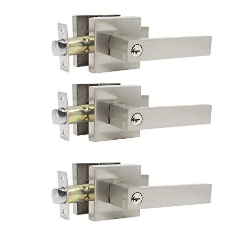 - 3 Pack Probrico Interior Bedroom Entrance Door Lever Doorknobs Door Lock One Keyway Entry Keyed Alike Same Key Entrance Lockset in Satin Nickel Each with 3 Keys