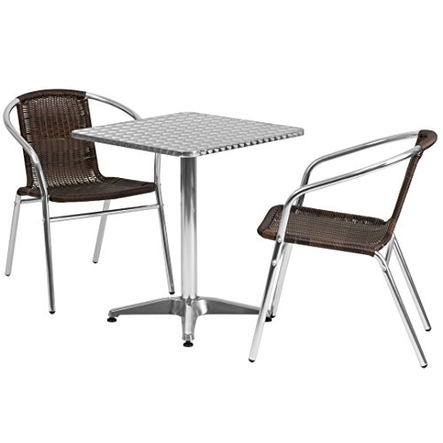 MFO 23.5'' Square Aluminum Indoor-Outdoor Table with 2 Dark Brown Rattan Chairs