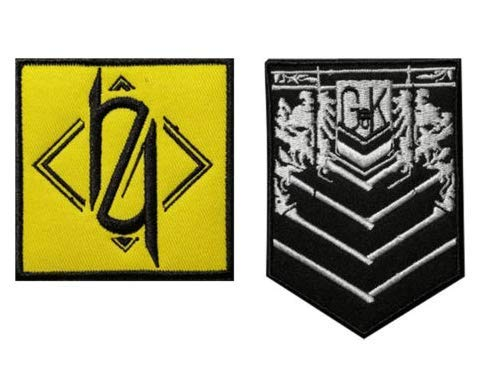 2pcs Girls' Frontline Griffin Kryuger 404 Military Patch Fabric Embroidered Badges Patch Tactical Stickers for Clothes with Hook & Loop ()