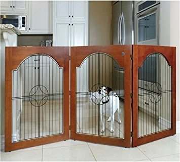 Universal Free Standing Pet Gate (Wire insert & Cherry Stain) by Majestic Pet