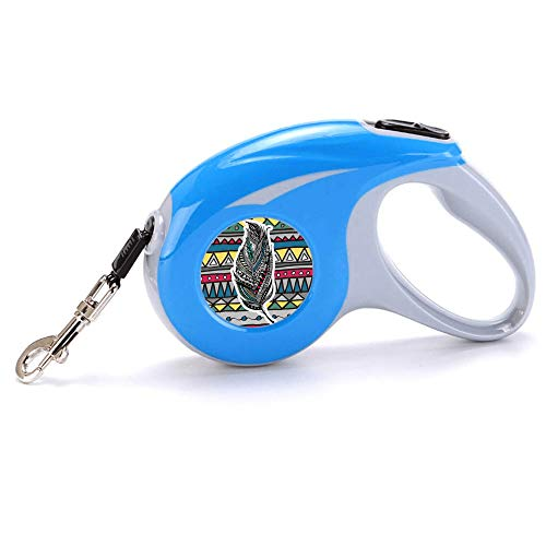 Pet Leash Tribal Striped Feather Pet Living Strong Retractable Extendable Lockable Dog Lead Leash Tape for Small Medium Dogs Tangle Free Reflective Nylon Lead with Anti-Slip Handle, Break & Lock Butto