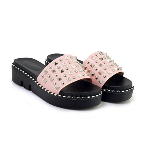 Plate Sandales Femmes Chaussures Chaussures Rivets Sandales Cales Rose épais Bas Été antidérapant Slide Flats Femmes Forme S7FRRqw