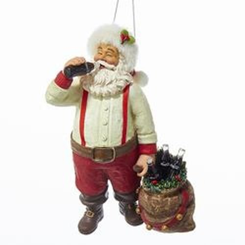Kurt Adler CC9162 Santa Drinking Coke Ornament, 5.5