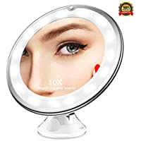 LED Vanity Makeup Mirror Makeup Mirror 10X Magnifying, LED Lighted Cosmetic Mirror Suction Base Makeup, Shaving Tweezing, Home Travel, Round 10X Lighted Magnifying Makeup Mirror, Daylight LED Travel Makeup Mirror, Compact & Cordless Table Magnifying Mirror, 360 Rotation Strong Locking Suction Bathroom Mirrors