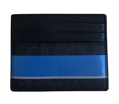 (Michael Kors Jet Set Mens Stripe Holder Wallet Tall Card Case (Black/Blue))